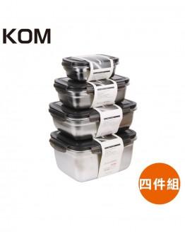 KOM 長方形不鏽鋼保鮮盒(黑)四件組