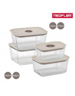 NEOFLAM FIKA Glass Tupperware 4件組