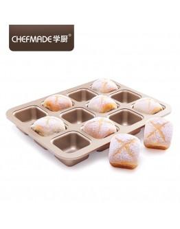 chefmade 12 cups Brownie Cake Pan 12连杯方形不粘蛋糕模 WK9149 【預購11月頭發貨】