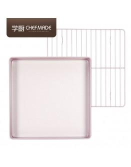 chefmade 11'' Square Non Stick Baking Tray Free Flat Rack 正方形加高烤盤烤架 WK9811 【預購11月頭發貨】