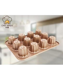 chefmade Canele Mold Cake Pan 12-Cup 蛋糕模具 WK9158 【預購11月頭發貨】