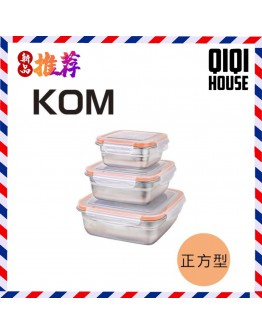 KOM 長方形不鏽鋼保鮮盒(蜜桃橘)-三件組  【現貨】
