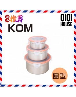 KOM 圆性不鏽鋼保鮮盒(蜜桃橘)-三件组 【現貨】