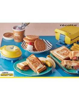 RECOLTE 厚燒格子三明治機 小小兵限定款 +迷你鬆餅機 + 料理夾子+松餅粉